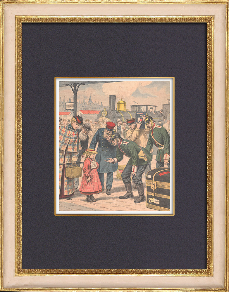 Antique Prints & Drawings | Mulhouse Station - A German girl traveling alone - Haut-Rhin - France - 1902 | Wood engraving | 1902