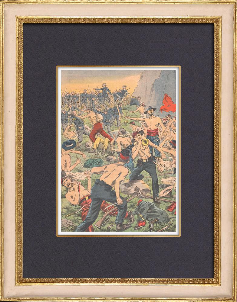 Gravures Anciennes & Dessins   Guerre civile en Colombie - Guerre des Mille Jours - Guérilla - Santa Marta - 1902   Gravure sur bois   1902