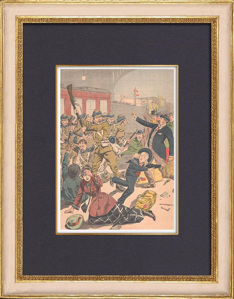 Antique Prints & Drawings   Tumult of drunken english soldiers - Birmingham Station - England - 1902   Wood engraving   1902