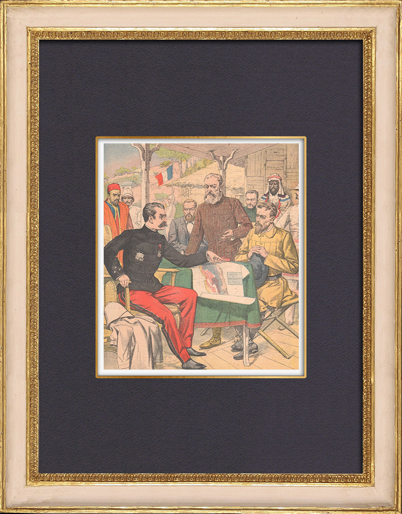 Antique Prints & Drawings | General Gallieni receives Boer delegates in Madagascar - 1902 | Wood engraving | 1902