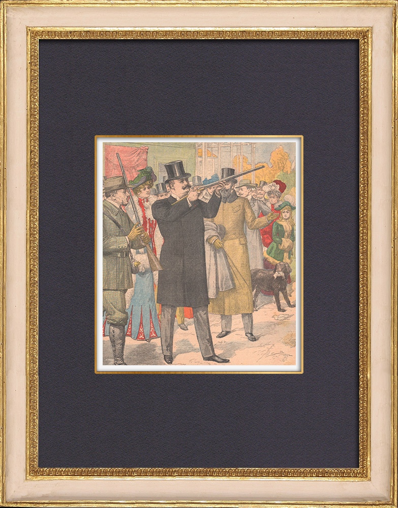 Antique Prints & Drawings | Carlos I of Portugal - Pigeon shooting - Paris - 1902 | Wood engraving | 1902