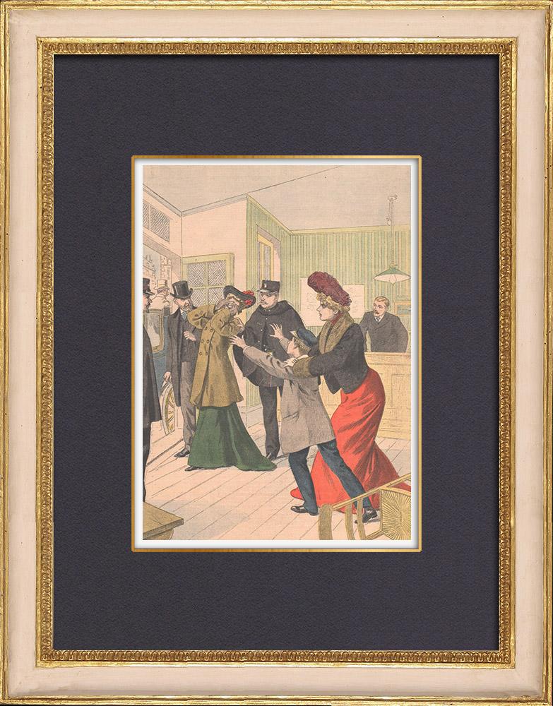 Gravures Anciennes & Dessins | Procès d'une femme refusant de rendre un enfant à sa mère - Croissy - 1902 | Gravure sur bois | 1902