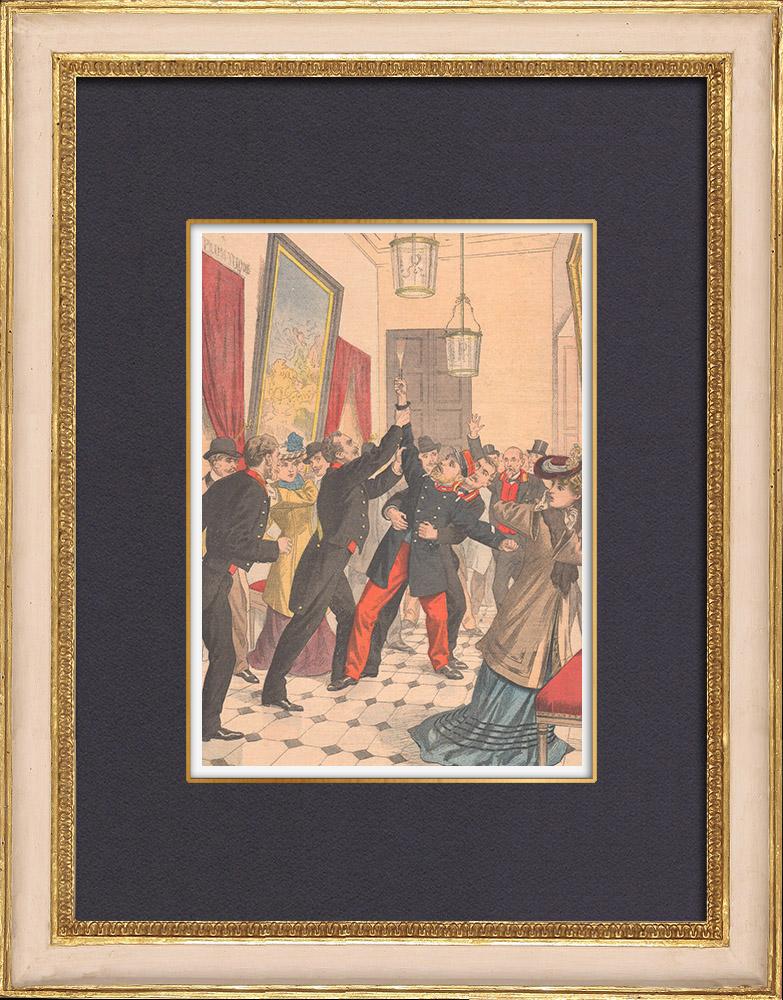 Gravures Anciennes & Dessins | Un homme fou tire des coups de revolver dans la Chambre des Députés - Paris - 1902 | Gravure sur bois | 1902
