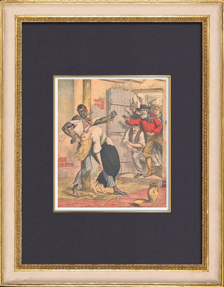 Gravures Anciennes & Dessins | Lynchage à Lenoxville - Pennsylvanie - États-Unis d'Amérique - 1902 | Gravure sur bois | 1902