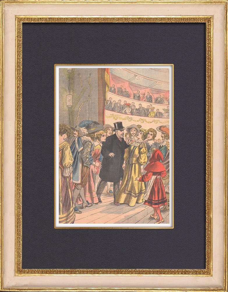 Gravures Anciennes & Dessins   Une actrice hypnotisée sur scène - Théâtre de Reims - France - 1902   Gravure sur bois   1902
