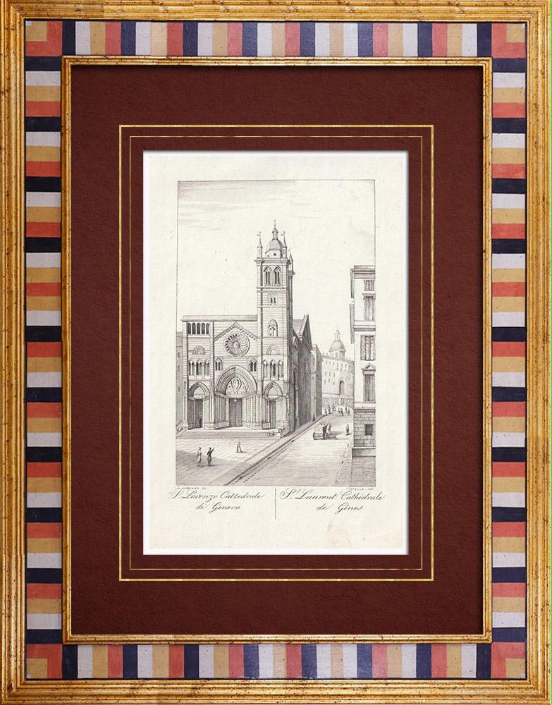 Antique Prints & Drawings | Genoa Cathedral - Liguria (Italy) | Intaglio print | 1846