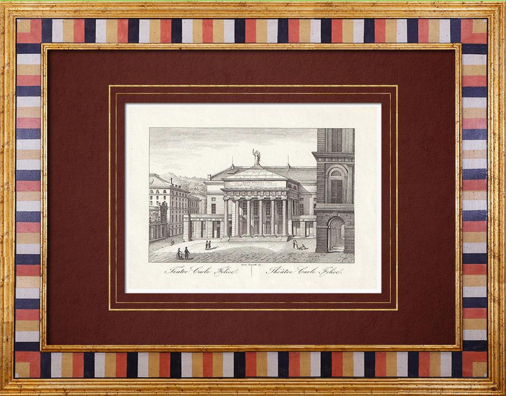 Antique Prints & Drawings | Teatro Carlo Felice in Genoa - Liguria (Italy) | Intaglio print | 1846