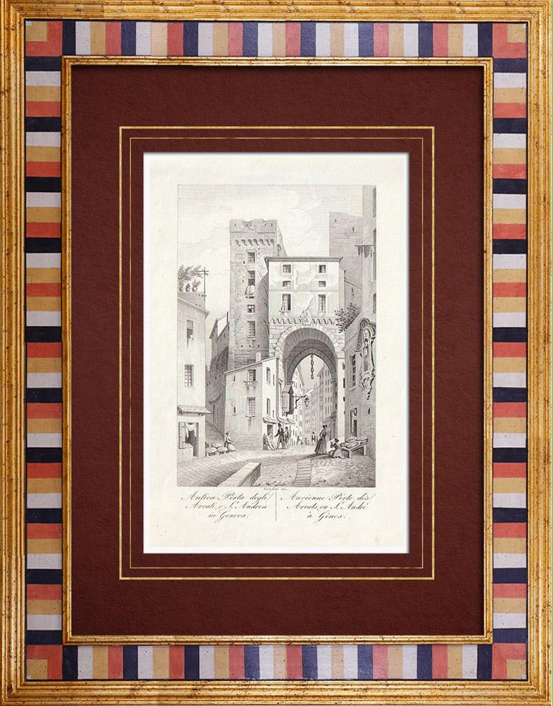Gravures Anciennes & Dessins | Porta degli Archi - Ancienne porte de ville - Gênes - Ligurie (Italie) | Taille-douce | 1846