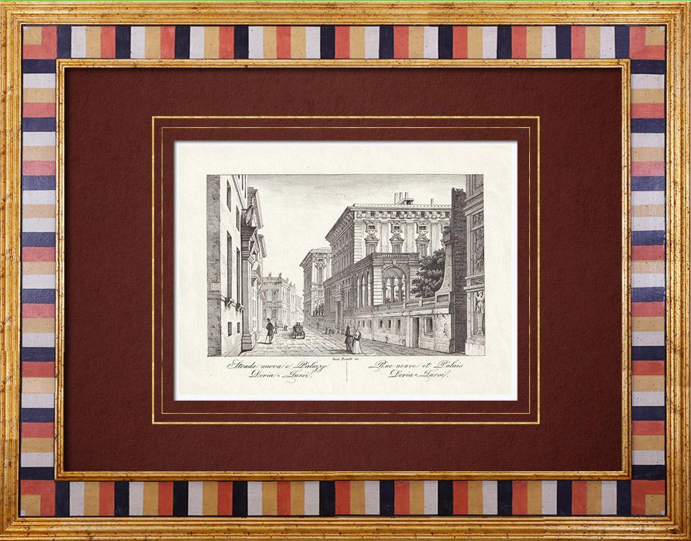 Antique Prints & Drawings   Palace Doria-Tursi in Genoa - Palazzo Niccolò Grimaldi - Liguria (Italy)   Intaglio print   1846