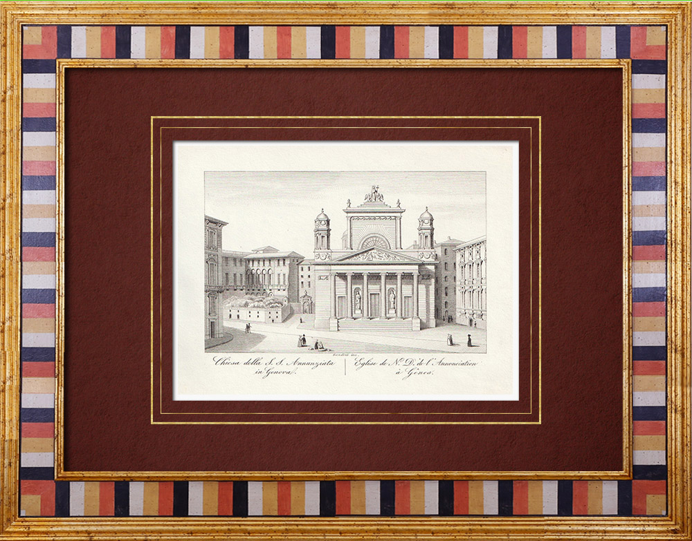 Gravures Anciennes & Dessins | Basilique Santissima Annunziata del Vastato - Gênes - Ligurie (Italie) | Taille-douce | 1846