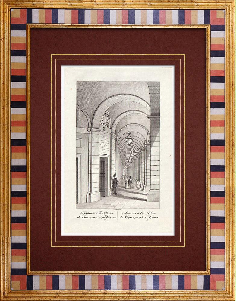 Gravures Anciennes & Dessins   Arcades - Portiques - Piazza Caricamento - Gênes - Ligurie (Italie)   Taille-douce   1846
