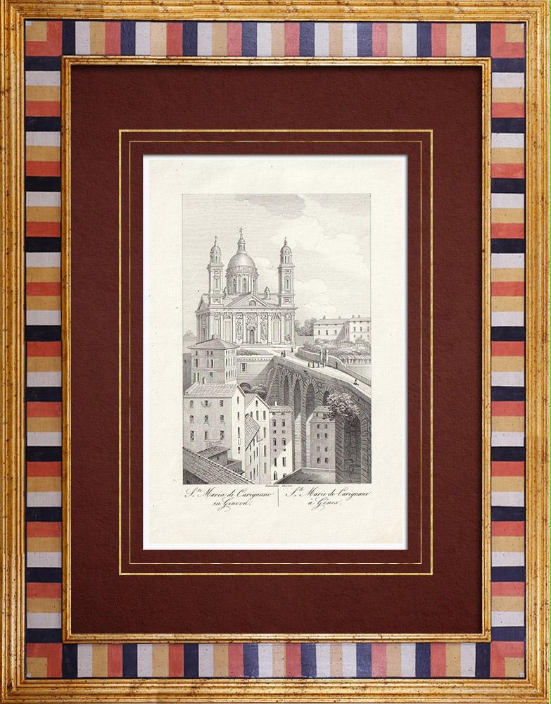 Antique Prints & Drawings | Santa Maria Assunta basilica in Genoa - Liguria (Italy) | Intaglio print | 1846