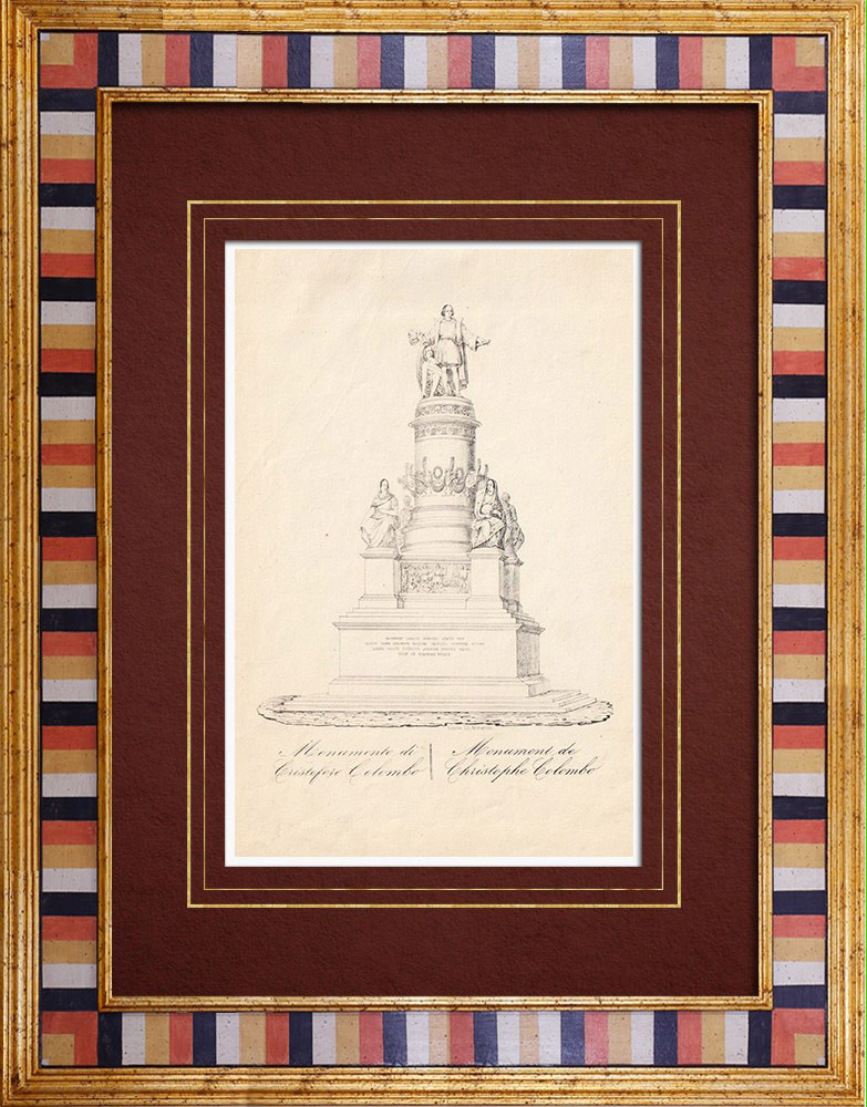 Antique Prints & Drawings | Christopher Columbus Monument in Genoa - Liguria (Italy) | Intaglio print | 1846
