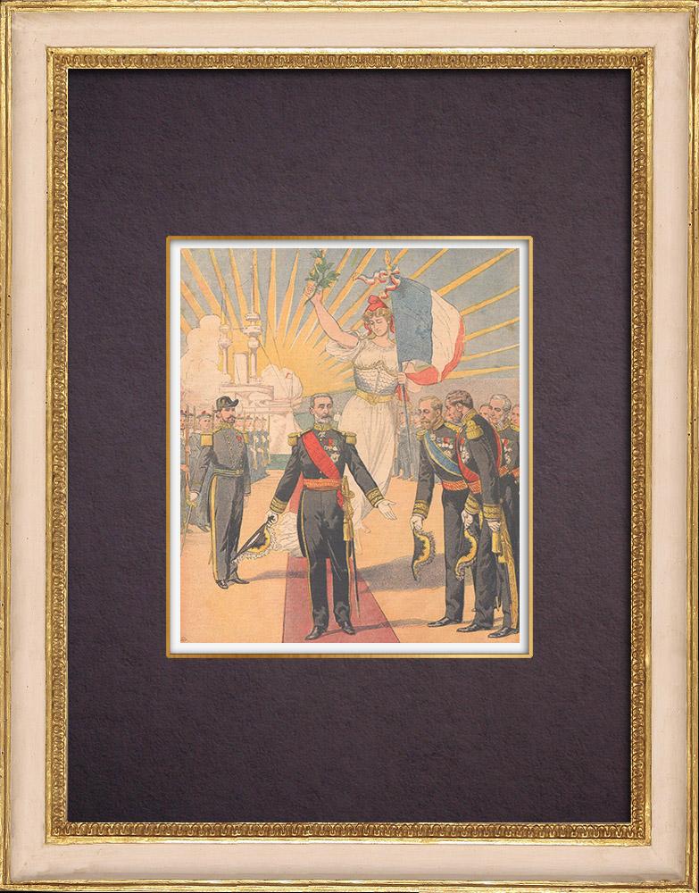 Grabados & Dibujos Antiguos   Retiro del Vicealmirante Gervais - Marina Francesa - 1903   Grabado xilográfico   1903