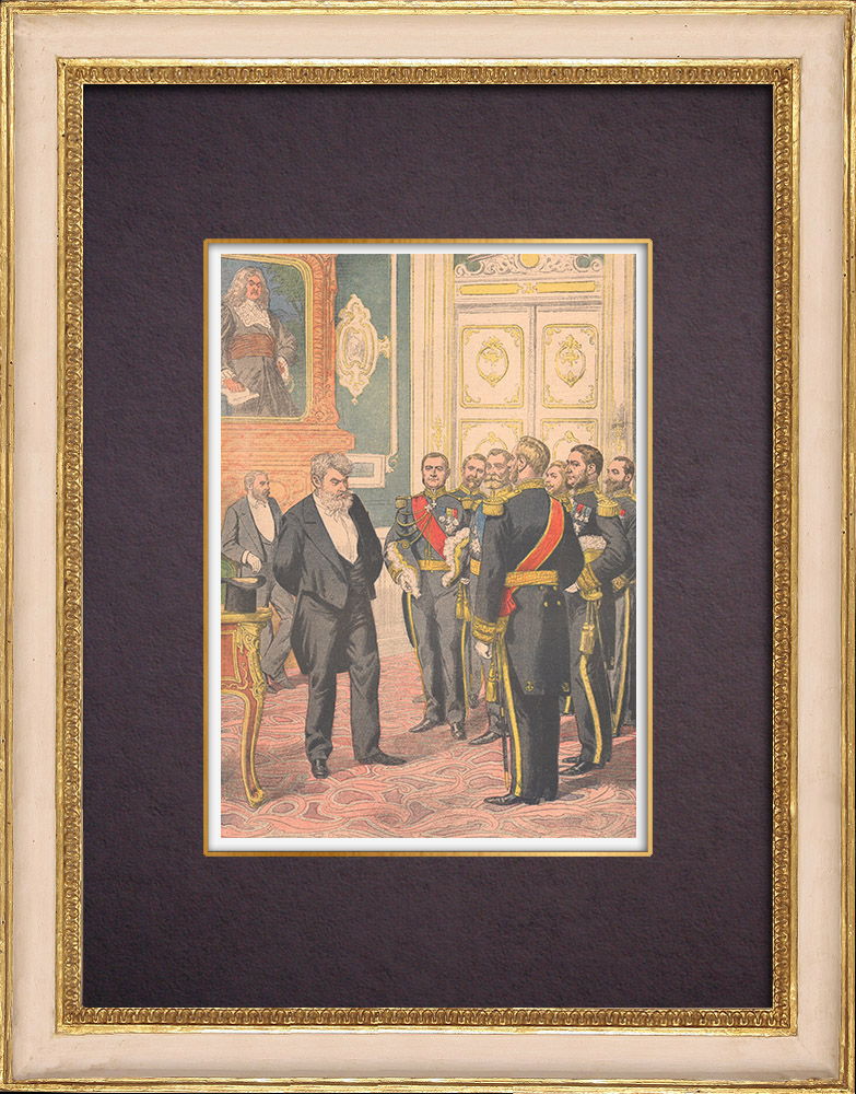 Gravures Anciennes & Dessins   Réception au Ministère de la Marine - Jour de l'An - Paris - 1903   Gravure sur bois   1903
