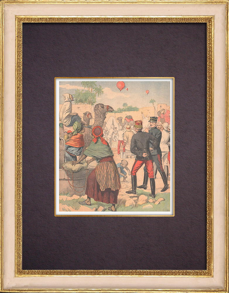 Antique Prints & Drawings   Crossing the Sahara in a balloon - Experiences - Gabes - Tunisia - 1903   Wood engraving   1903