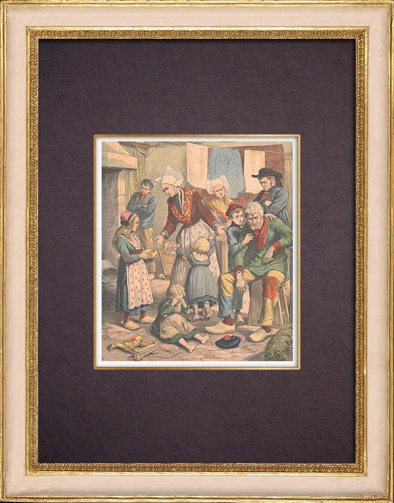 Antique Prints & Drawings | Famine on the Breton coasts - Finistère - Morbihan - 1903 | Wood engraving | 1903
