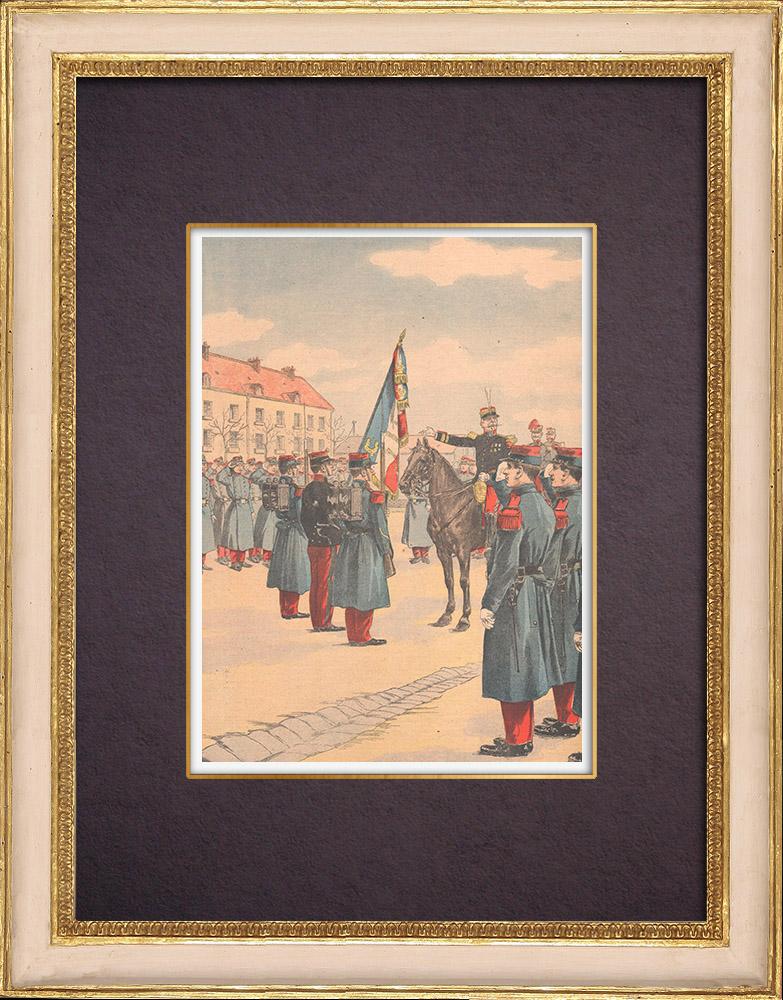Grabados & Dibujos Antiguos   Presentación de la bandera a los jóvenes soldados - Plaza de Armas   Grabado xilográfico   1903