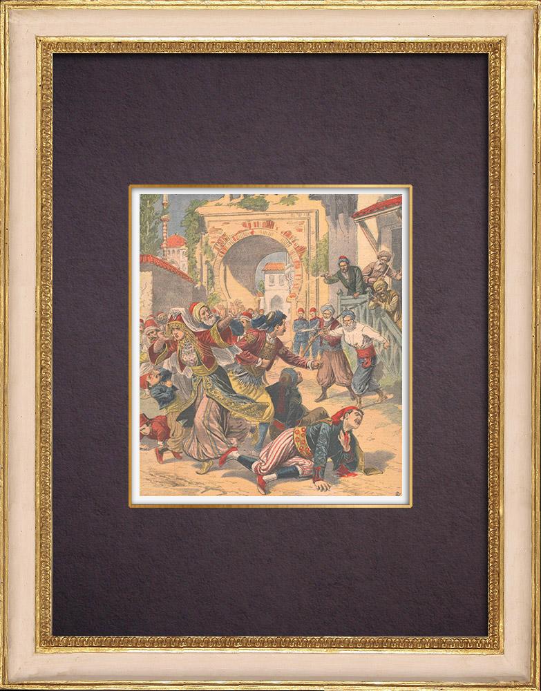 Antique Prints & Drawings | Orthodox wedding - Killing by Turks in Macedonia - 1903 | Wood engraving | 1903