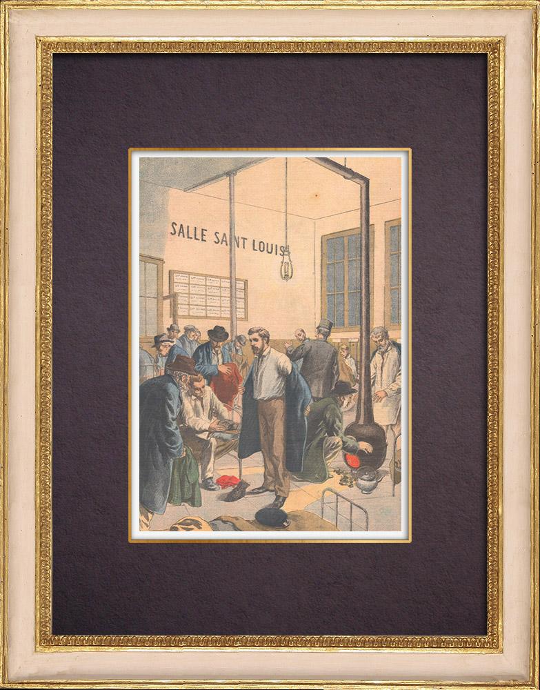 Antique Prints & Drawings | Asylum of night in winter in Paris - 1903 | Wood engraving | 1903