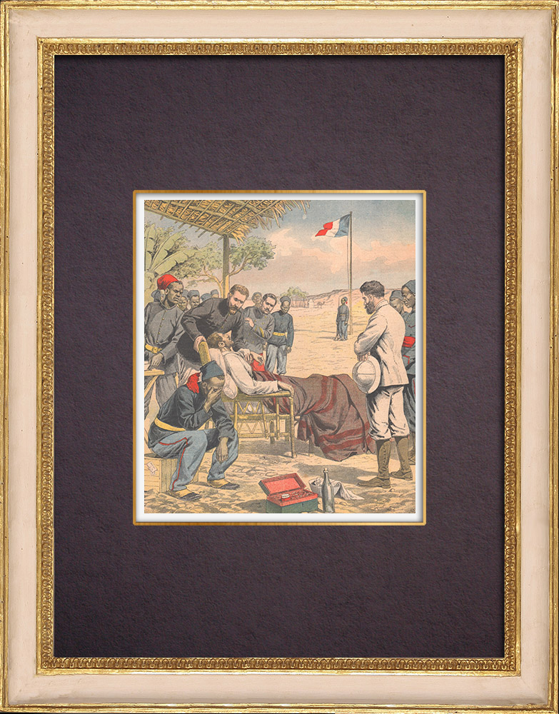 Antique Prints & Drawings | Death of the French explorer Du Bourg de Bozas - Accra - Gulf of Guinea - 1903 | Wood engraving | 1903