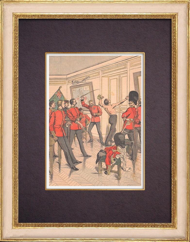 Gravures Anciennes & Dessins | Brimades entre officiers anglais - Le fouet - Armée Anglaise - 1903 | Gravure sur bois | 1903