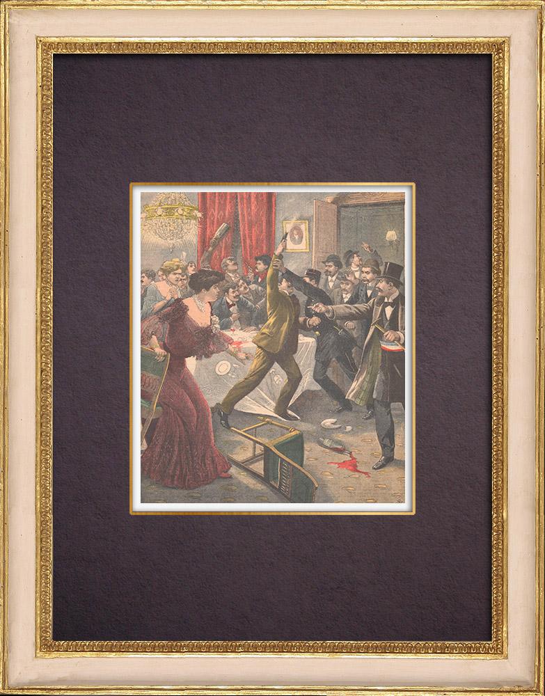 Antique Prints & Drawings   Arrest of the Sirène de Reuilly - Highwaymen - 1903   Wood engraving   1903