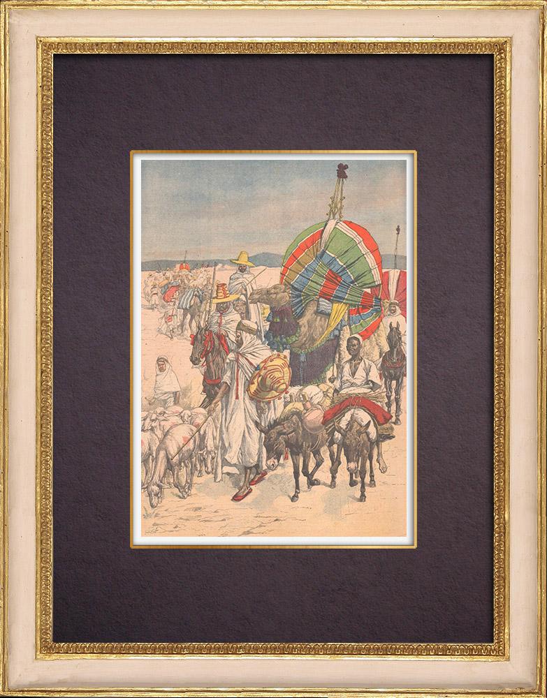 Antique Prints & Drawings | Caravans of Gourara - Oasis - Algeria - 1903 | Wood engraving | 1903
