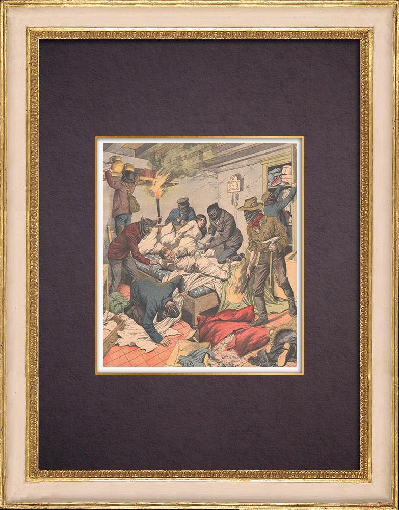 Antique Prints & Drawings | Cruel brigandage in the Aalst region - Torture - East Flanders - Belgium - 1903 | Wood engraving | 1903