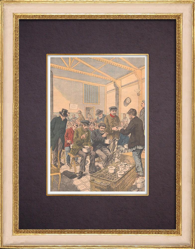 Antique Prints & Drawings   Soup kitchen in Paris - 1903   Wood engraving   1903