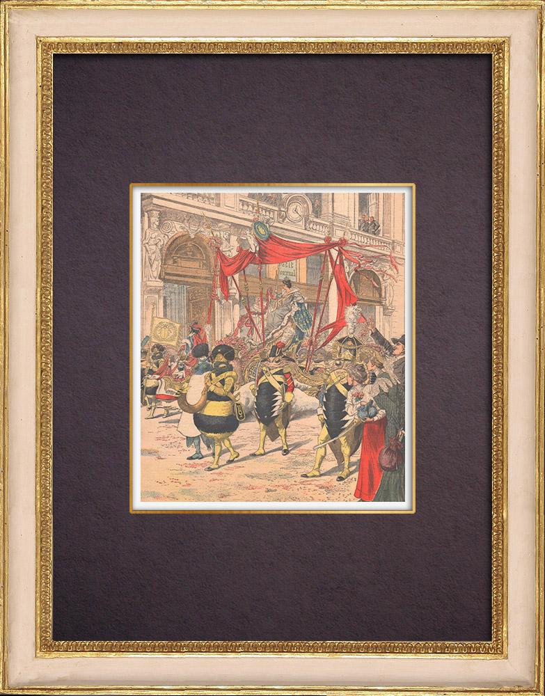 Antique Prints & Drawings | Parade of Mi-Carême - Carnival - Paris - 1903 | Wood engraving | 1903
