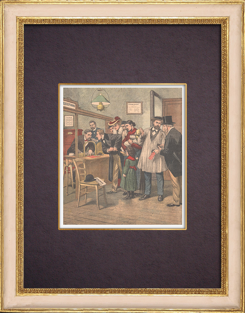 Antique Prints & Drawings   The payment of taxes - Tax collector - France - 1903   Wood engraving   1903