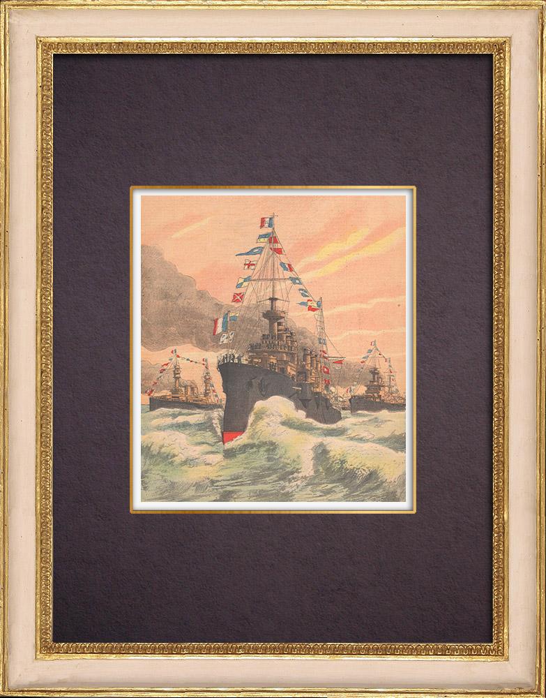 Grabados & Dibujos Antiguos | Viaje del Presidente de la República a bordo de la Jeanne d'Arc - 1903 | Grabado xilográfico | 1903