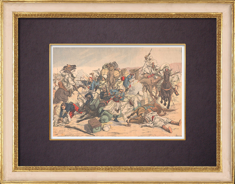 Antique Prints & Drawings | French soldiers attacked by Moroccans - Figuig - Morocco - 1903 | Wood engraving | 1903
