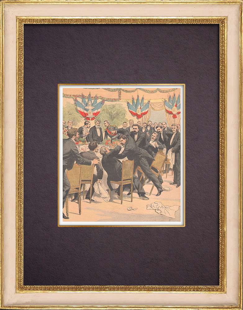 Antique Prints & Drawings | Banquet hosted by Camille Pelletan, minister of the Marine - Carcassonne - 1903 | Wood engraving | 1903