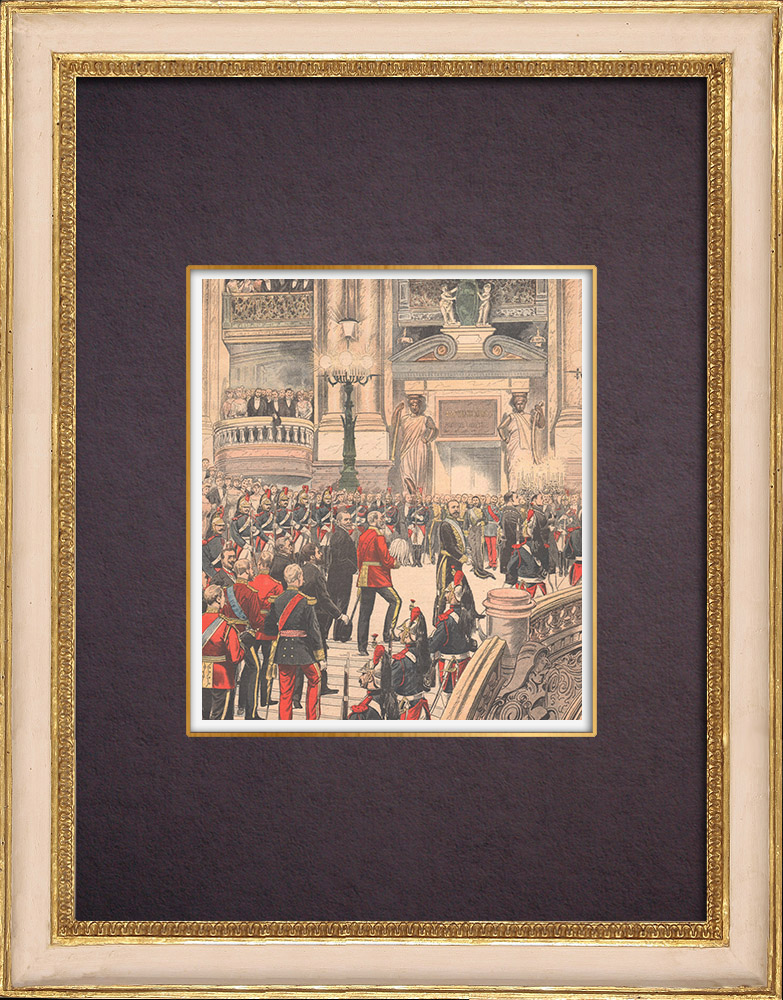 Gravures Anciennes & Dessins | Le Roi d'Angleterre à l'Opéra de Paris - 1903 | Gravure sur bois | 1903