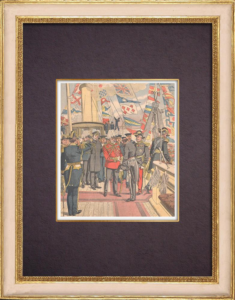 Gravures Anciennes & Dessins | Fin du voyage d'Edouard VII en France - Cherbourg - Yacht Victoria and Albert - 1903 | Gravure sur bois | 1903