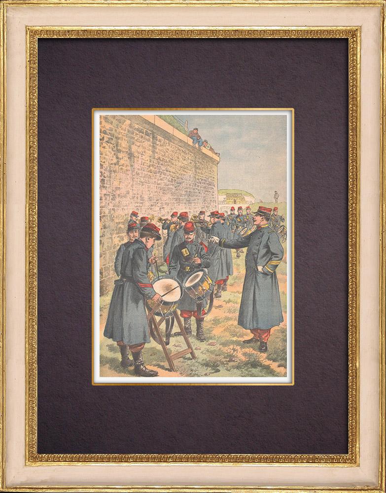 Grabados & Dibujos Antiguos | Aprendizaje del tambor y del clarín en el ejército francés - 1903 | Grabado xilográfico | 1903