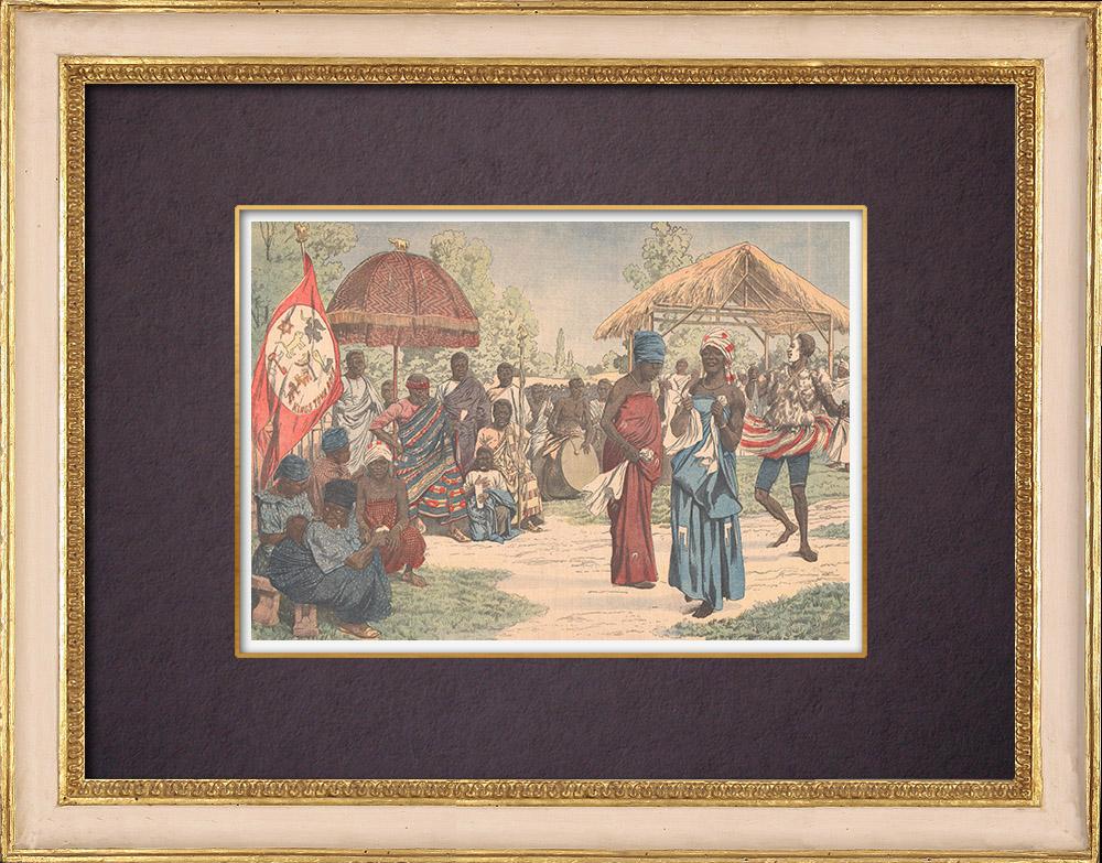 Gravures Anciennes & Dessins | Visite des Achantis au Jardin d'Acclimatation - Bois de Boulogne - Paris - 1903 | Gravure sur bois | 1903