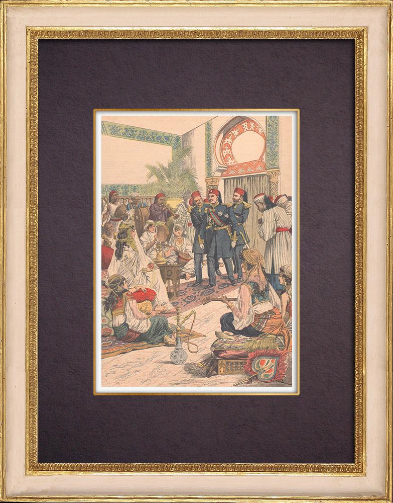 Grabados & Dibujos Antiguos | Matrimonio del hijo del Bey de Túnez - Entrevista en el Harén - Ksar Saïd - Túnez - 1903 | Grabado xilográfico | 1903