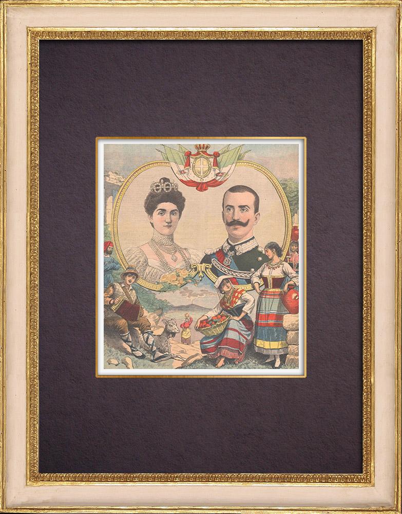 Antique Prints & Drawings | Portrait of Viktor Emanuel III and Elena of Montenegro his wife | Wood engraving | 1903