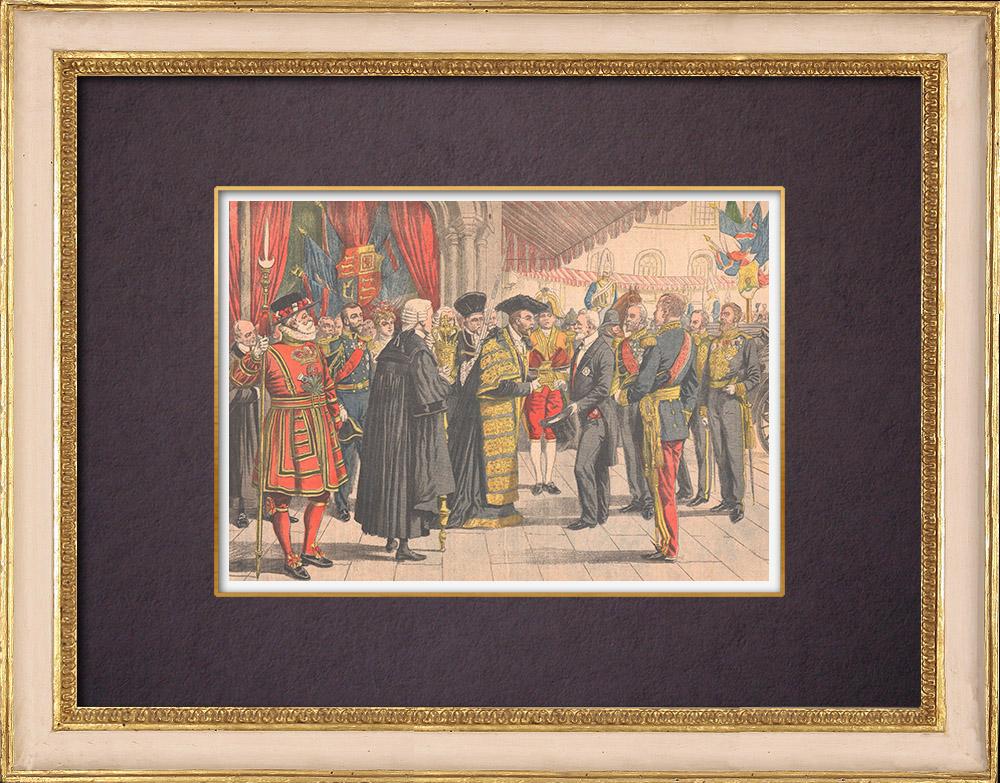Grabados & Dibujos Antiguos | Visita d'Emile Loubet - El Lord Mayor of London le dio una caja de oro - Mansion House - 1903 | Grabado xilográfico | 1903