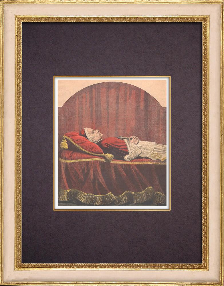 Gravures Anciennes & Dessins | Lit de Mort du Pape Léon XIII - Rome - 1903 | Gravure sur bois | 1903