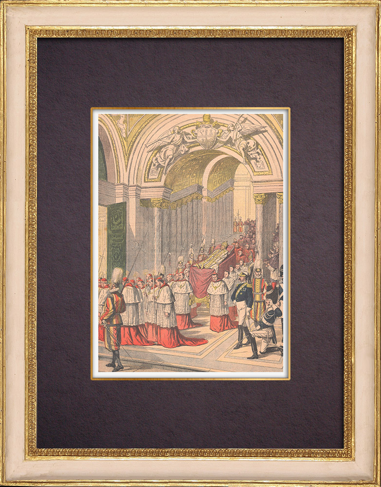 Antique Prints & Drawings | Death of Pope Leo XIII - Chapel of the Blessed Sacrament - Rome - 1903   | Wood engraving | 1903