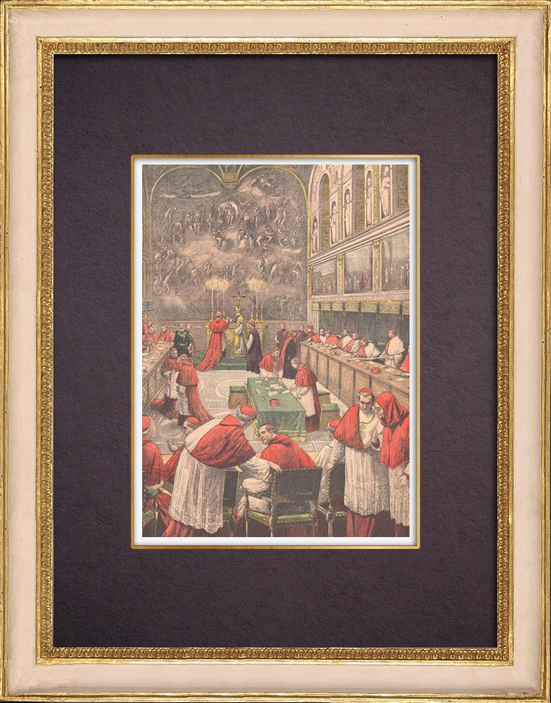 Gravures Anciennes & Dessins   Conclave de 1903 - Election d'un nouveau Pape dans la Chapelle Sixtine - Vatican (Italie)   Gravure sur bois   1903