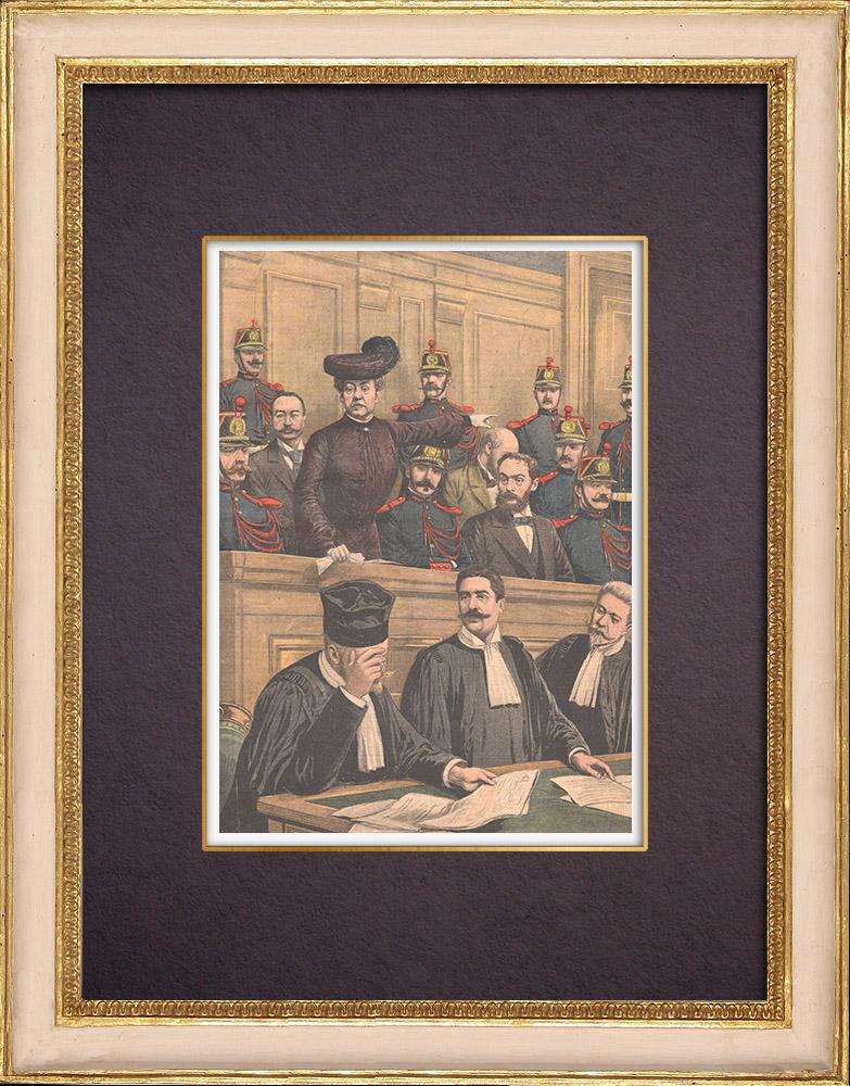 Gravures Anciennes & Dessins | Procès de la famille Humbert en Cour d'Assises - Escroquerie - Paris - 1903 | Gravure sur bois | 1903