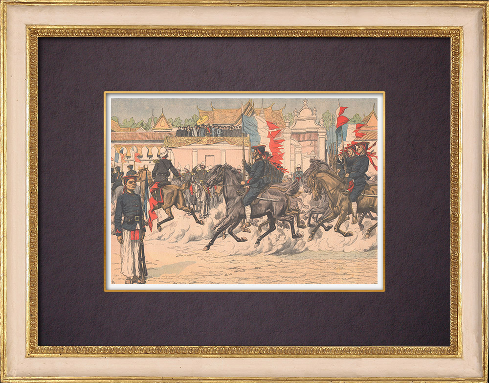 Gravures Anciennes & Dessins | Revue de la cavalerie indigène en Indochine - 1903 | Gravure sur bois | 1903