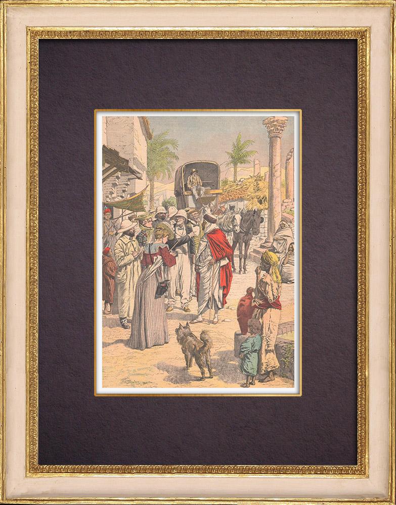 Grabados & Dibujos Antiguos | Visita de profesores francés en Argelia - 1903 | Grabado xilográfico | 1903