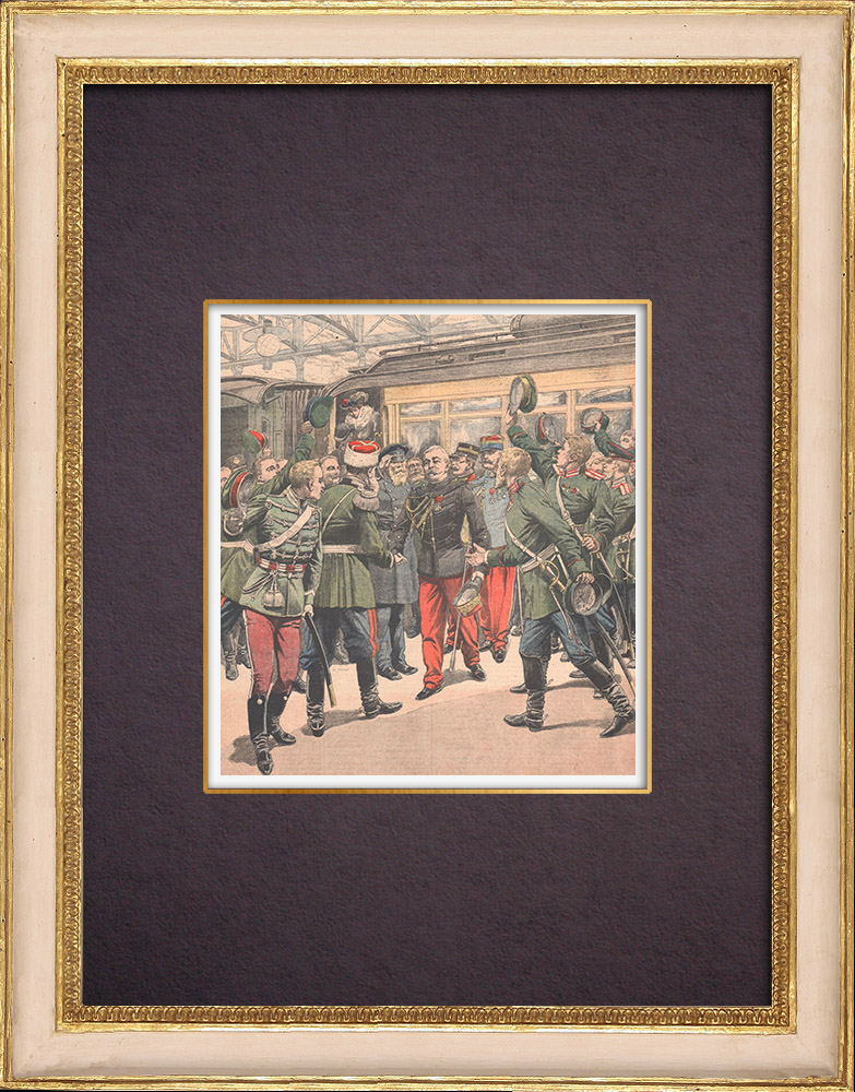 Antique Prints & Drawings   Triumphal reception of General Pendezec in Warsaw - Poland - 1903   Wood engraving   1903