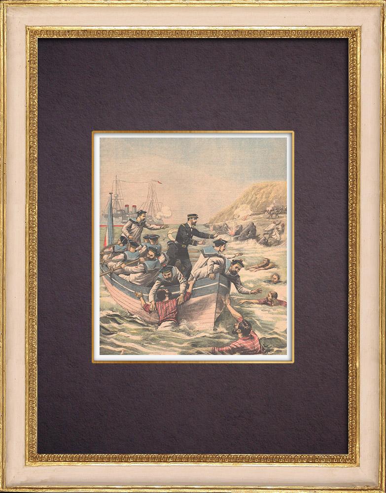 Gravures Anciennes & Dessins   L'équipage du Galilée sauve les marins abandonnés par Jacques Lebaudy - Afrique - 1903   Gravure sur bois   1903